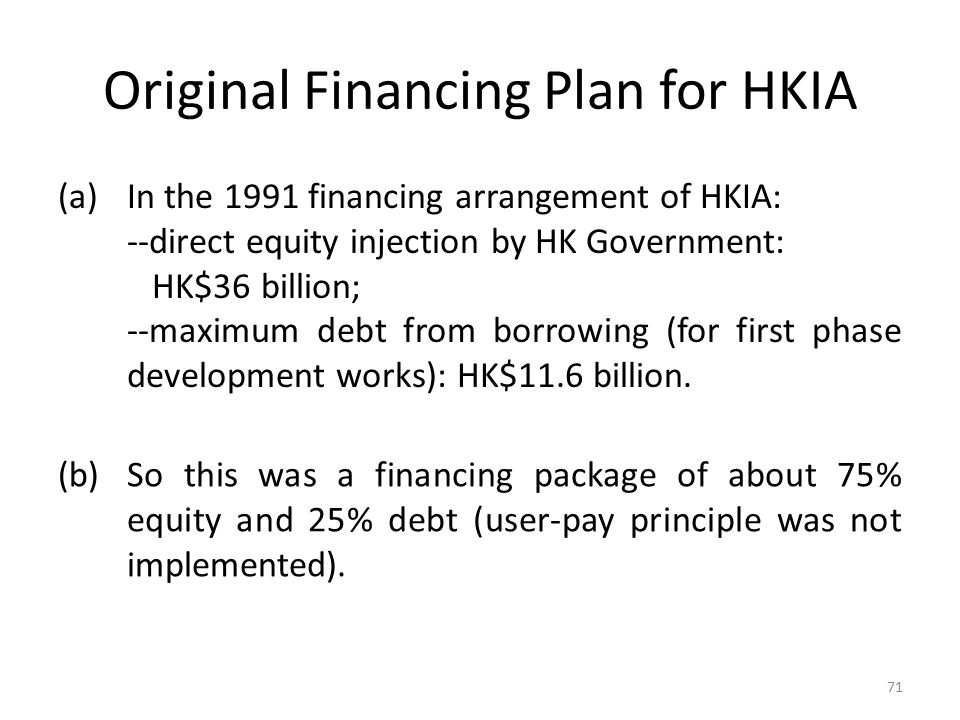 Original Financing Plan for HKIA