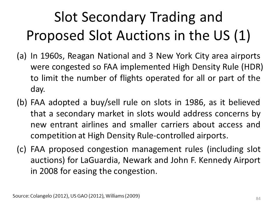 Slot Secondary Trading and Proposed Slot Auctions in the US (1)