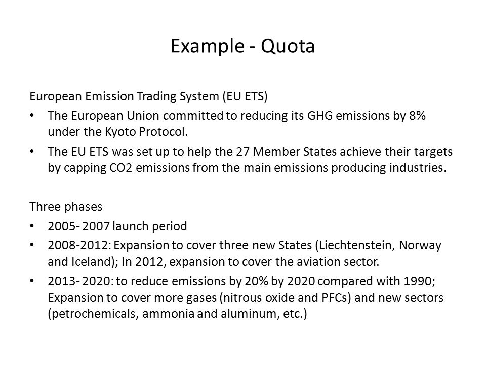Example - Quota European Emission Trading System (EU ETS)