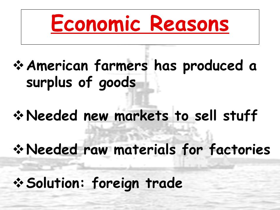Economic Reasons American farmers has produced a surplus of goods