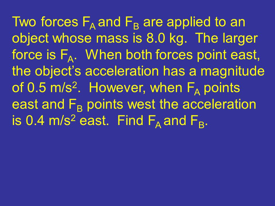 Two forces FA and FB are applied to an object whose mass is 8. 0 kg