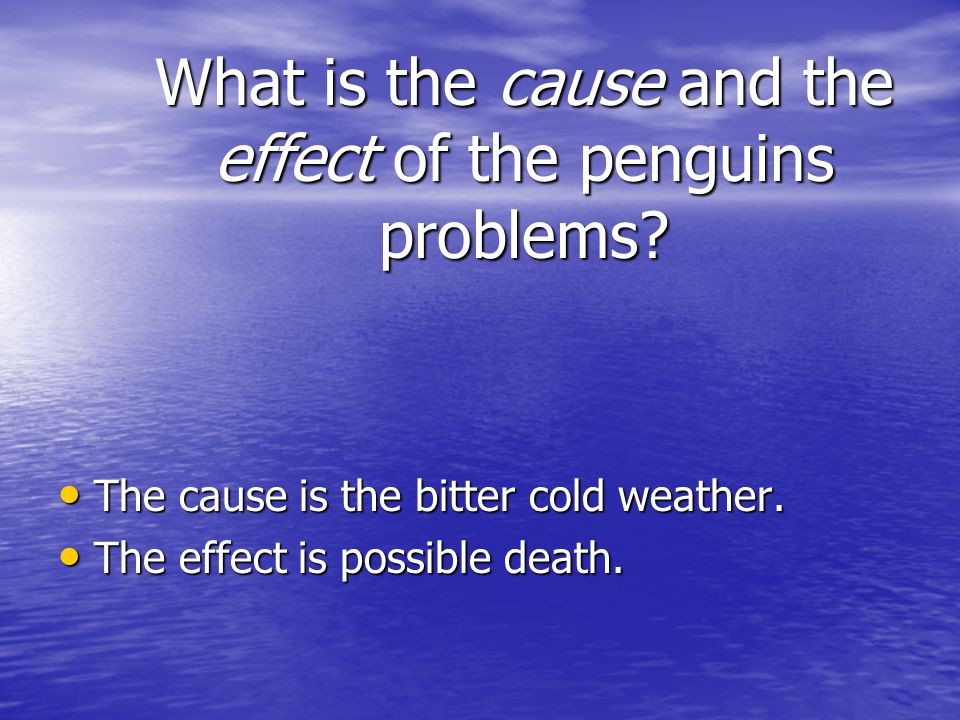What is the cause and the effect of the penguins problems
