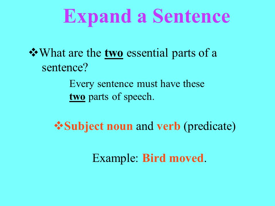 Expand a Sentence What are the two essential parts of a sentence