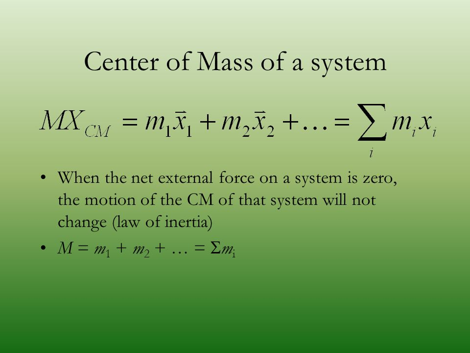 Center of Mass of a system