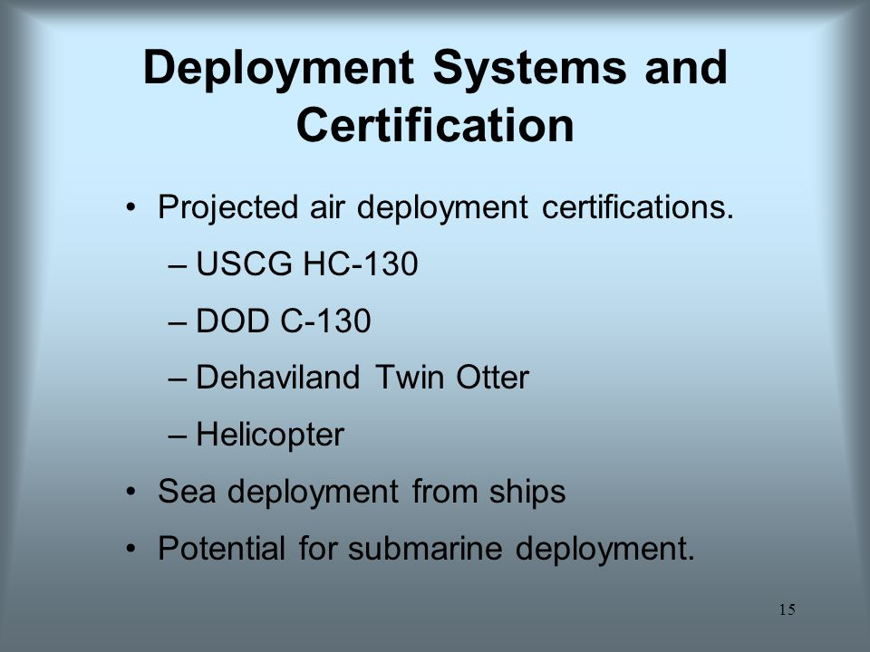 Deployment Systems and Certification