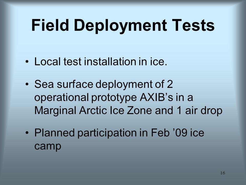 Field Deployment Tests