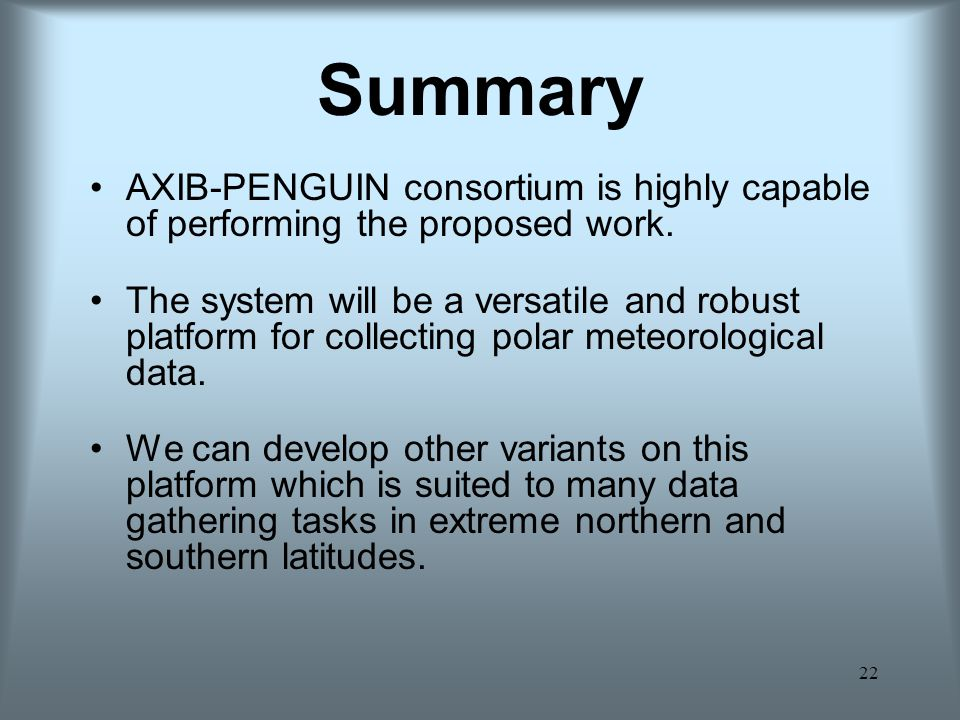 Summary AXIB-PENGUIN consortium is highly capable of performing the proposed work.