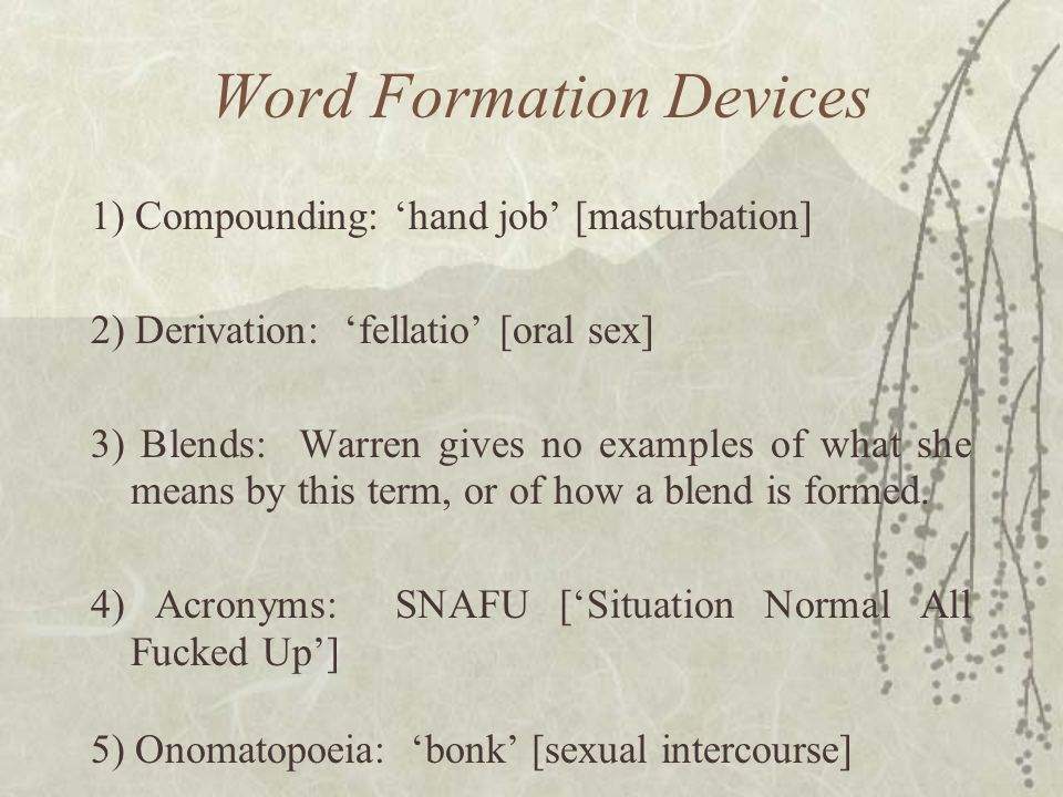 Word Formation Devices