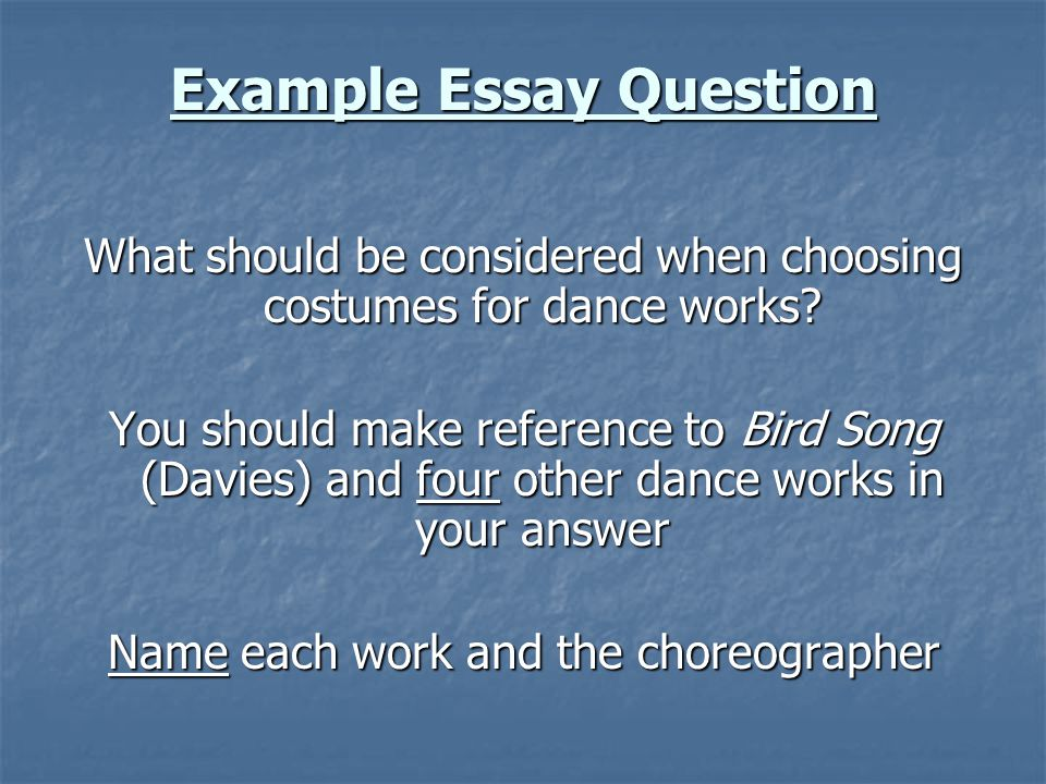 Example Essay Question