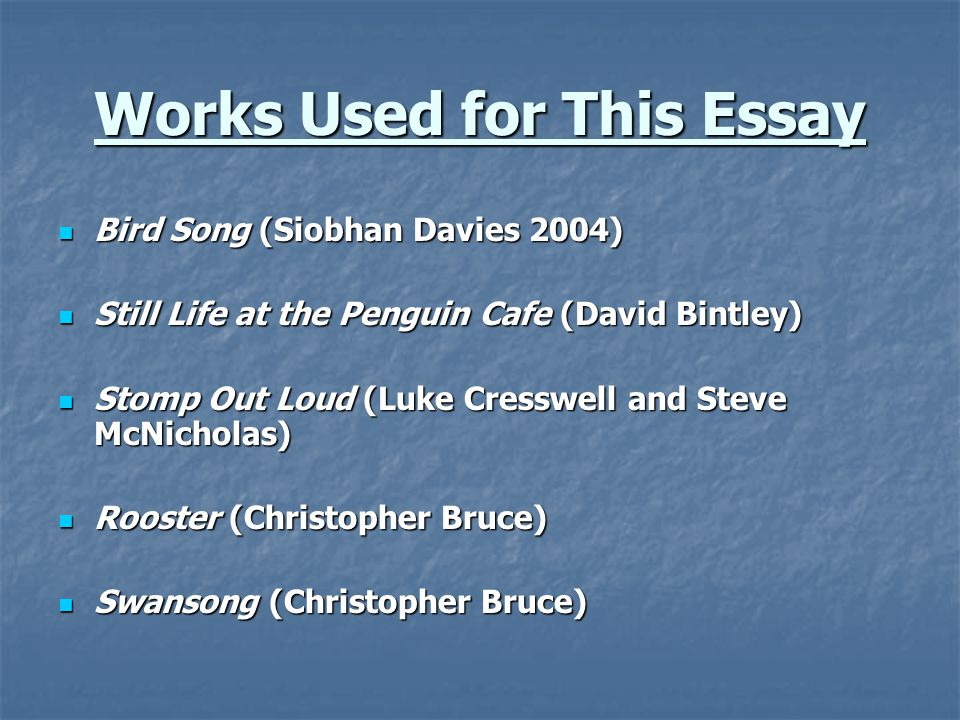 Works Used for This Essay