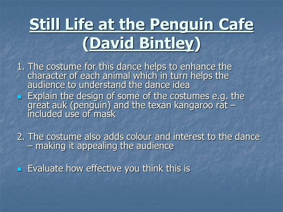 Still Life at the Penguin Cafe (David Bintley)