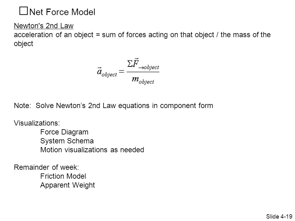 Net Force Model Newton s 2nd Law