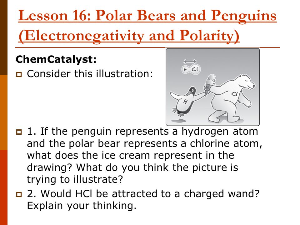Lesson 16: Polar Bears and Penguins (Electronegativity and Polarity)