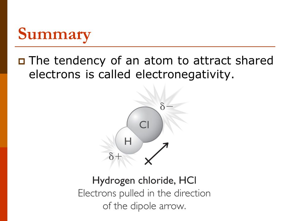Summary The tendency of an atom to attract shared electrons is called electronegativity.