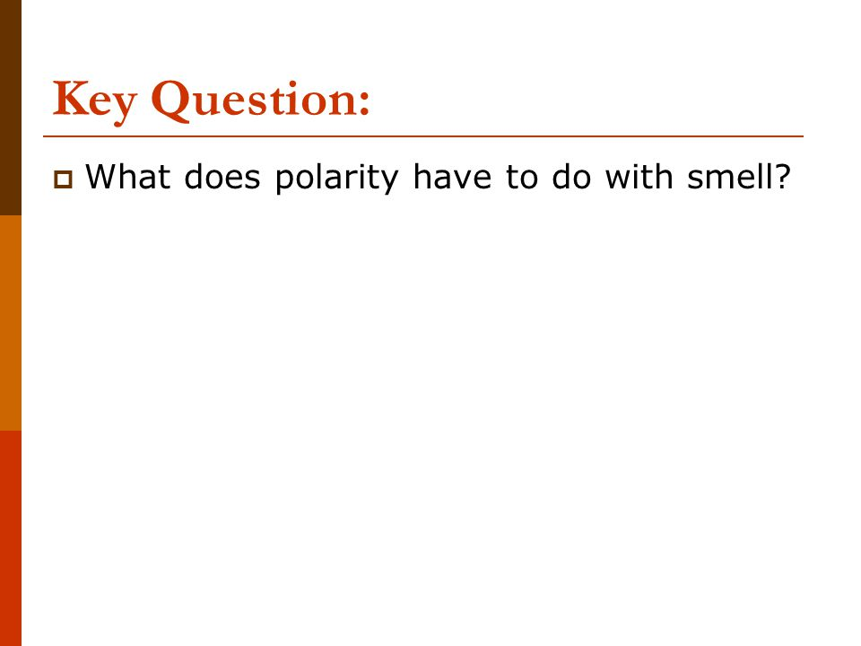 Key Question: What does polarity have to do with smell