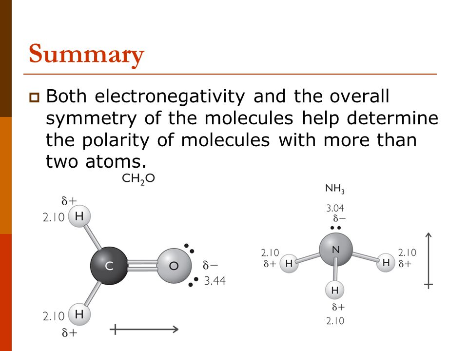 Summary Both electronegativity and the overall symmetry of the molecules help determine the polarity of molecules with more than two atoms.