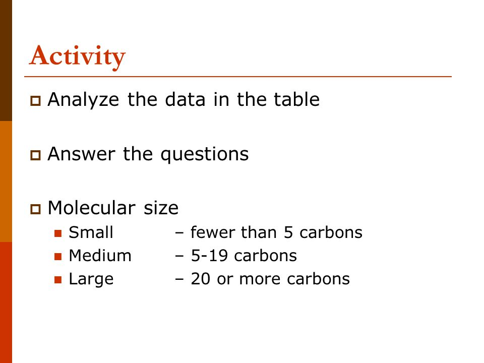 Activity Analyze the data in the table Answer the questions