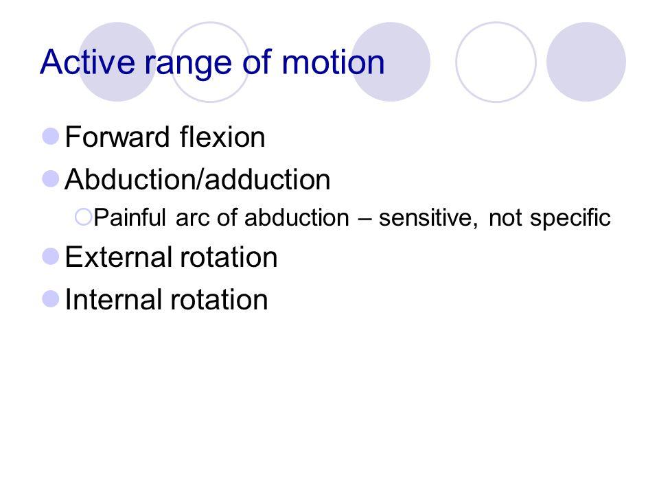 Active range of motion Forward flexion Abduction/adduction