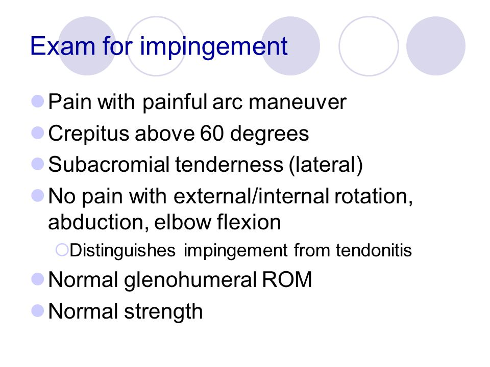 Exam for impingement Pain with painful arc maneuver