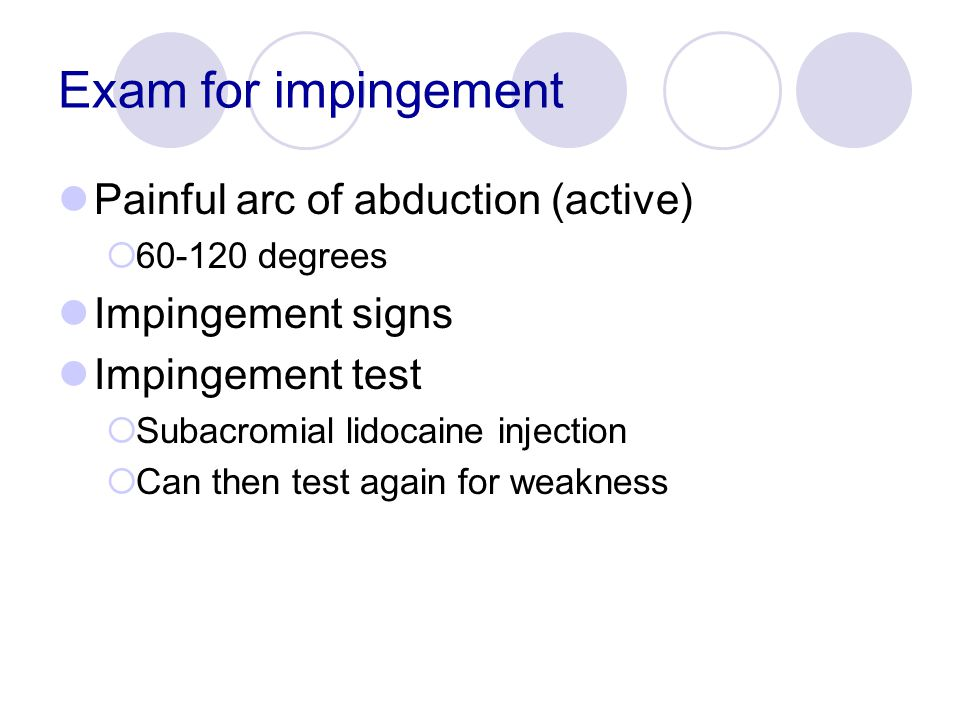 Exam for impingement Painful arc of abduction (active)