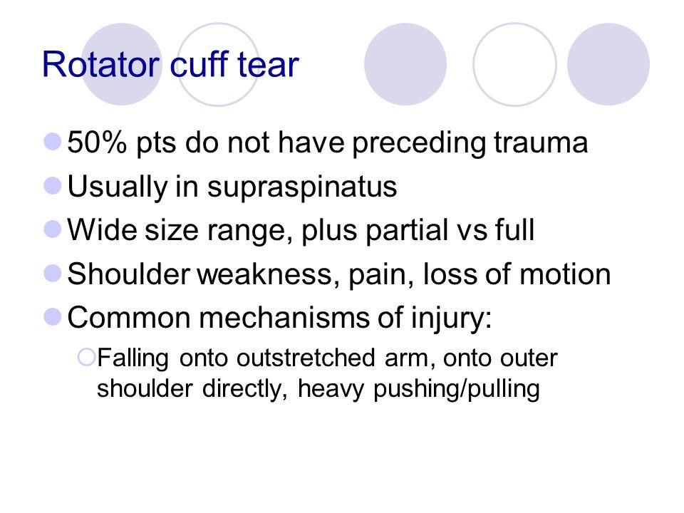 Rotator cuff tear 50% pts do not have preceding trauma