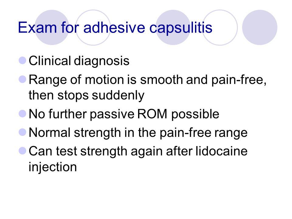 Exam for adhesive capsulitis