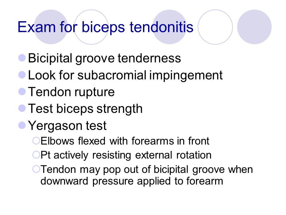 Exam for biceps tendonitis