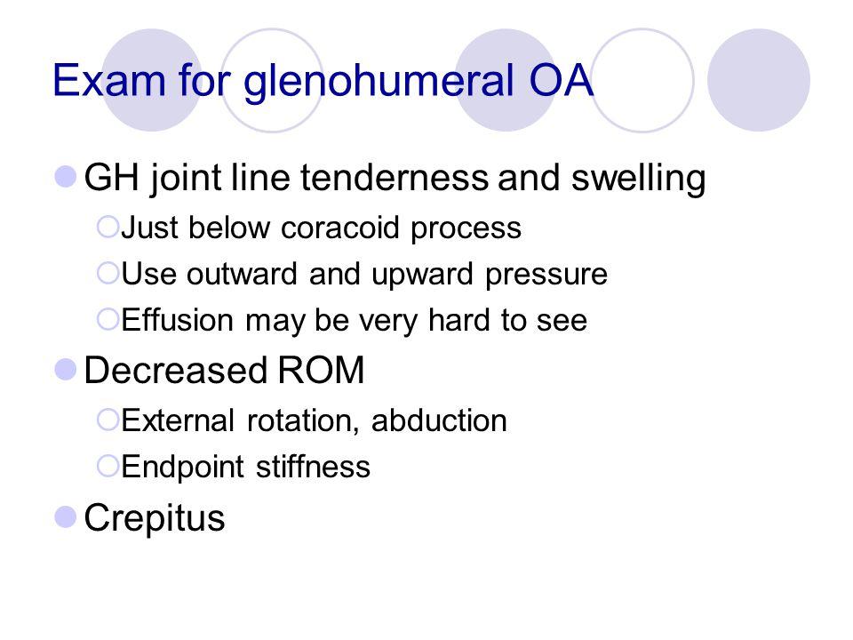 Exam for glenohumeral OA