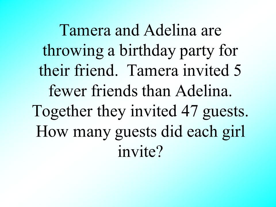 Tamera and Adelina are throwing a birthday party for their friend