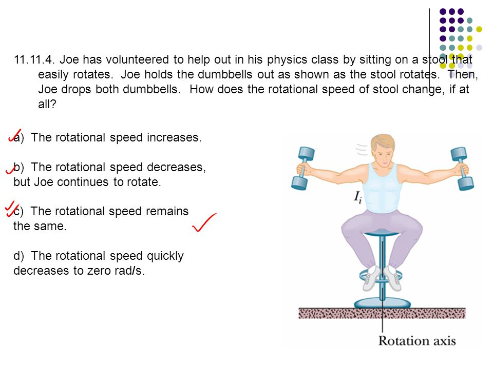 Joe has volunteered to help out in his physics class by sitting on a stool that easily rotates. Joe holds the dumbbells out as shown as the stool rotates. Then, Joe drops both dumbbells. How does the rotational speed of stool change, if at all