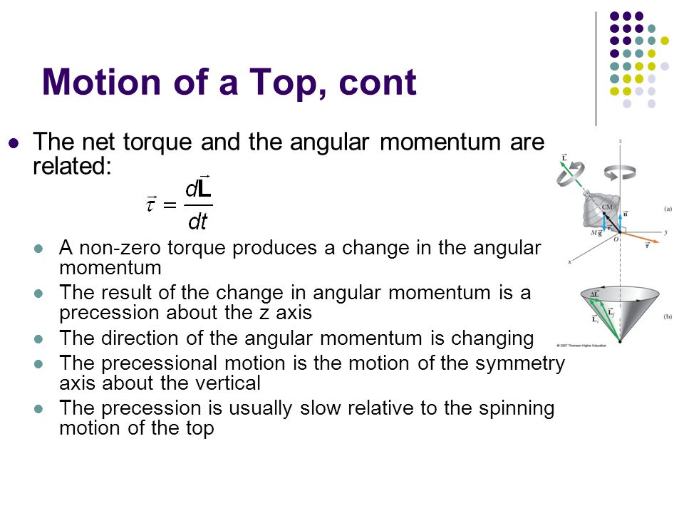 Motion of a Top, cont The net torque and the angular momentum are related: A non-zero torque produces a change in the angular momentum.
