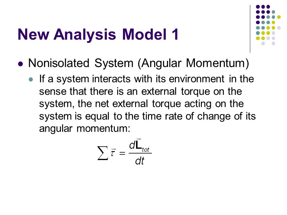 New Analysis Model 1 Nonisolated System (Angular Momentum)