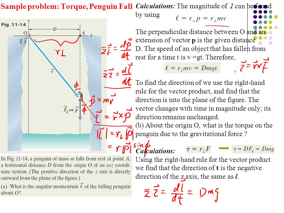 Sample problem: Torque, Penguin Fall