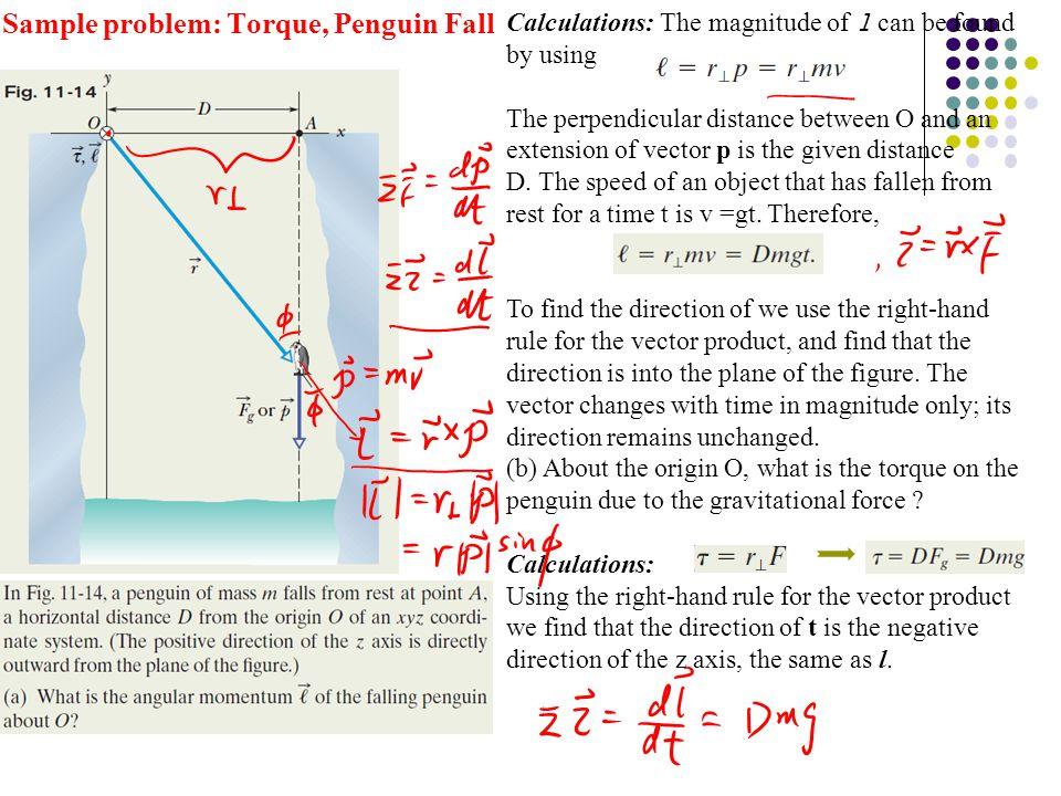 Sample problem: Torque, Penguin Fall