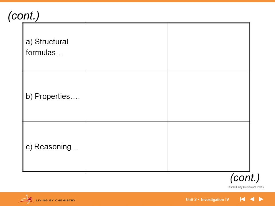(cont.) (cont.) a) Structural formulas… b) Properties…. c) Reasoning…