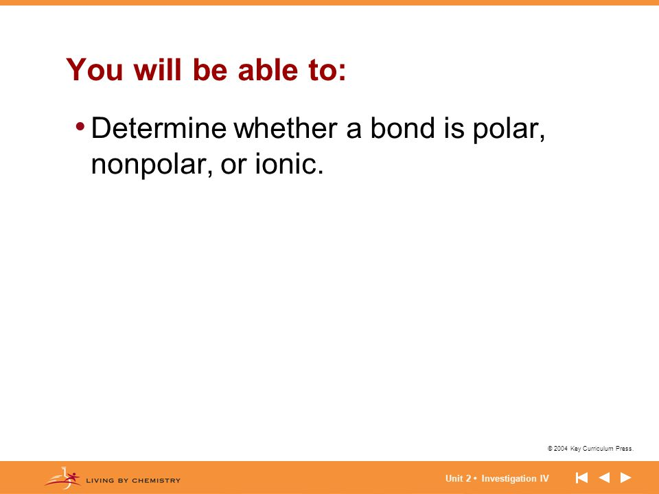 You will be able to: Determine whether a bond is polar, nonpolar, or ionic.