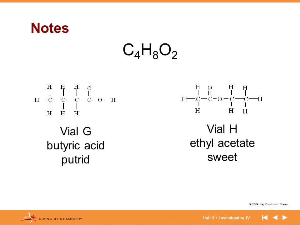 C4H8O2 Notes Vial H Vial G ethyl acetate butyric acid sweet putrid