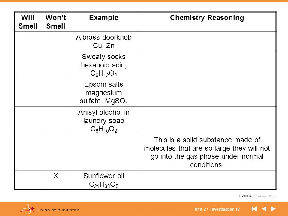 Will Smell Won't Smell Example Chemistry Reasoning
