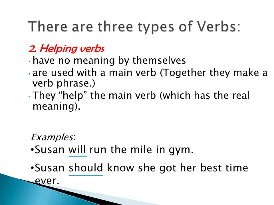 There are three types of Verbs: