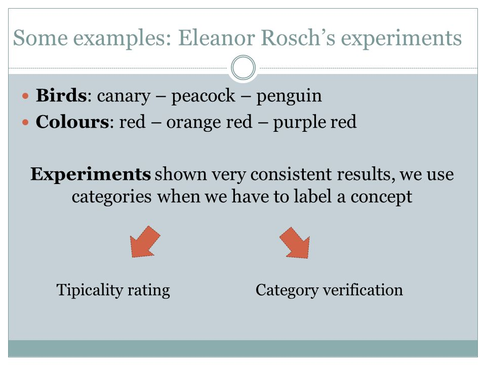 Some examples: Eleanor Rosch's experiments