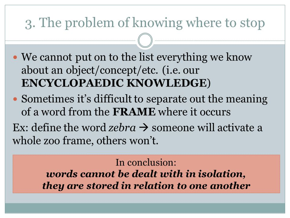 3. The problem of knowing where to stop