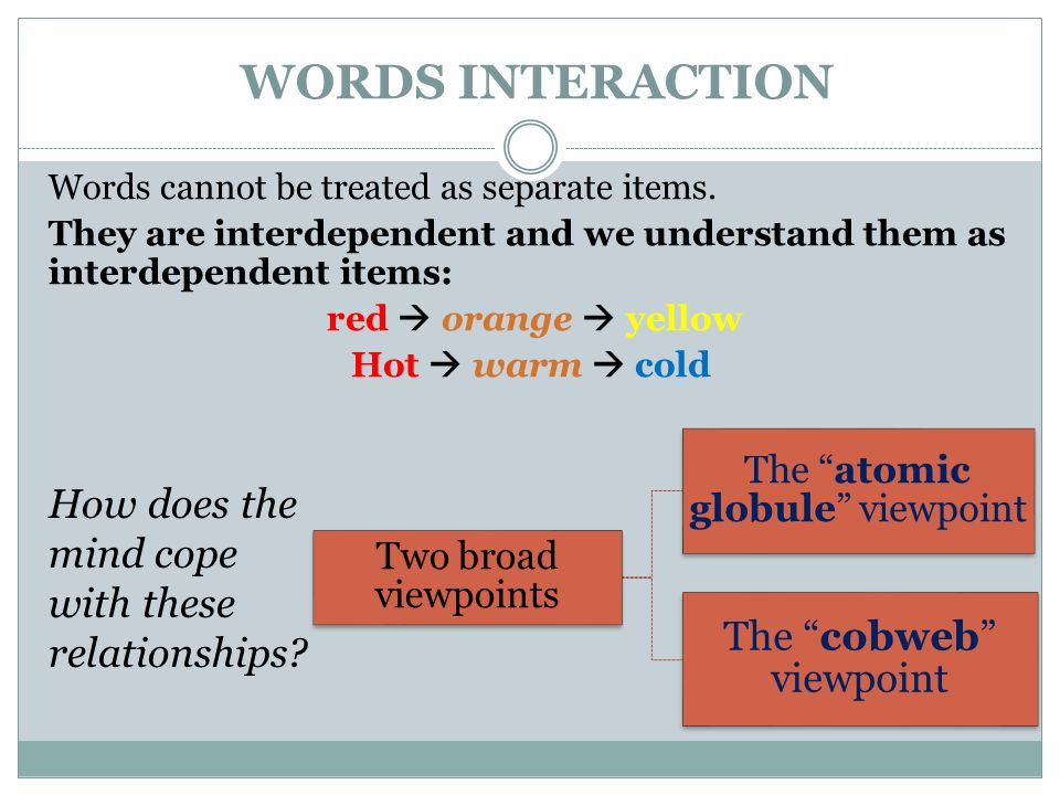 WORDS INTERACTION The cobweb viewpoint