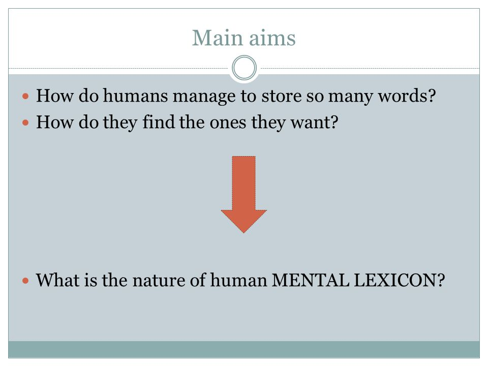 Main aims How do humans manage to store so many words