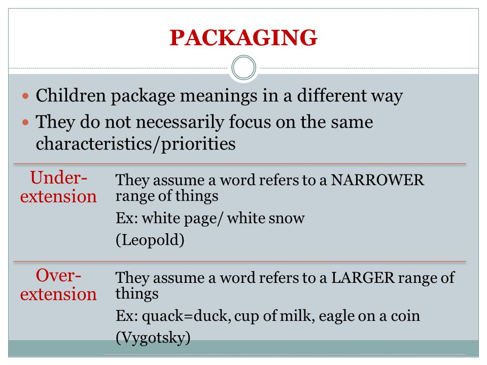 PACKAGING Children package meanings in a different way Under-extension