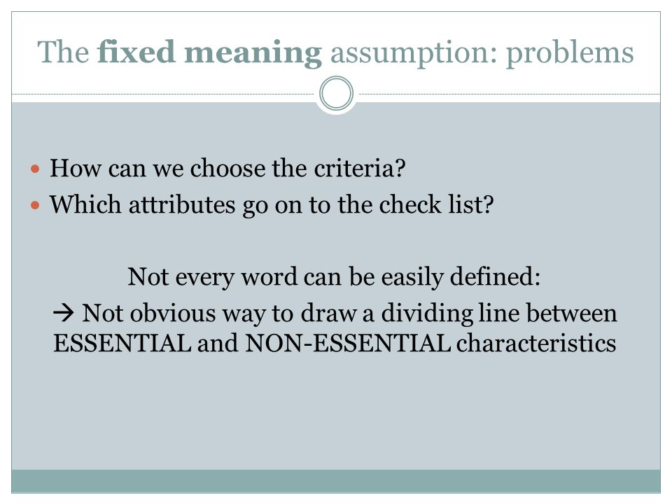 The fixed meaning assumption: problems