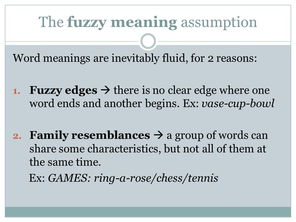 The fuzzy meaning assumption