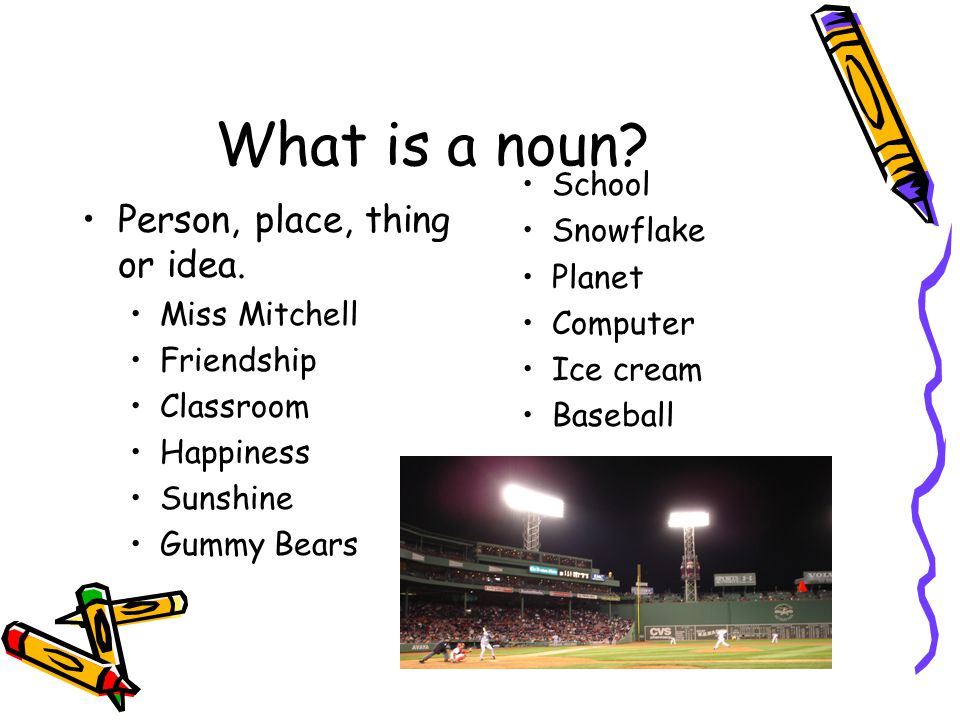 What is a noun Person, place, thing or idea. School Snowflake Planet