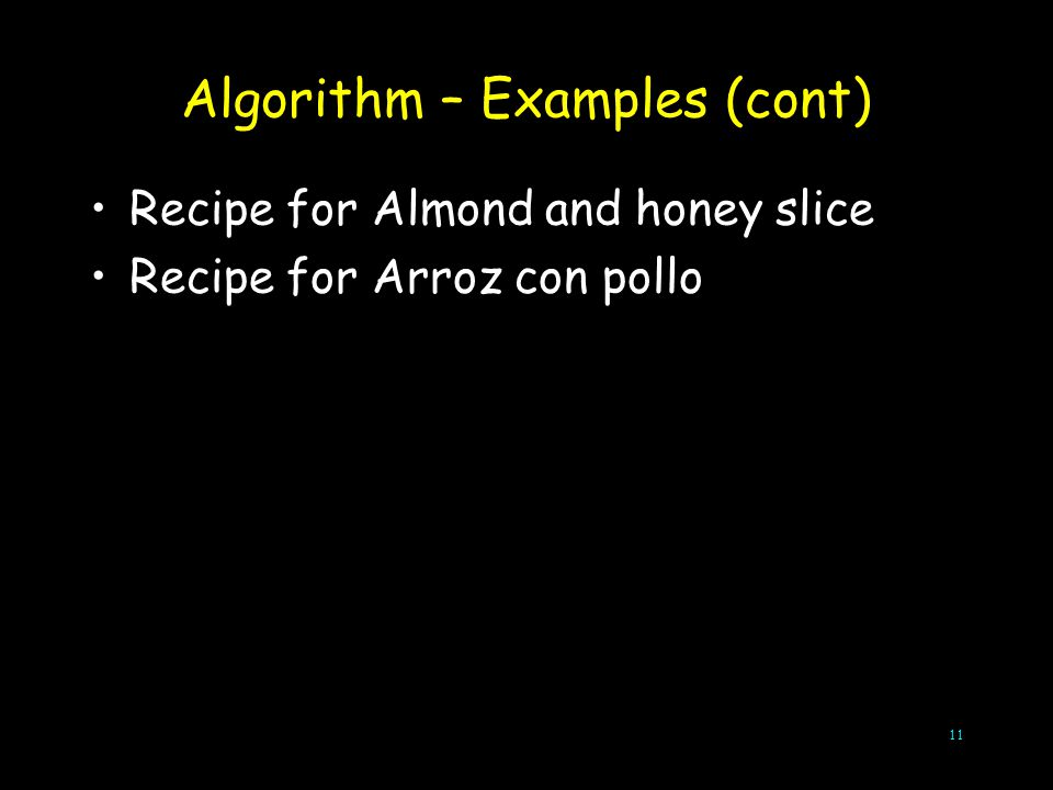 Algorithm – Examples (cont)