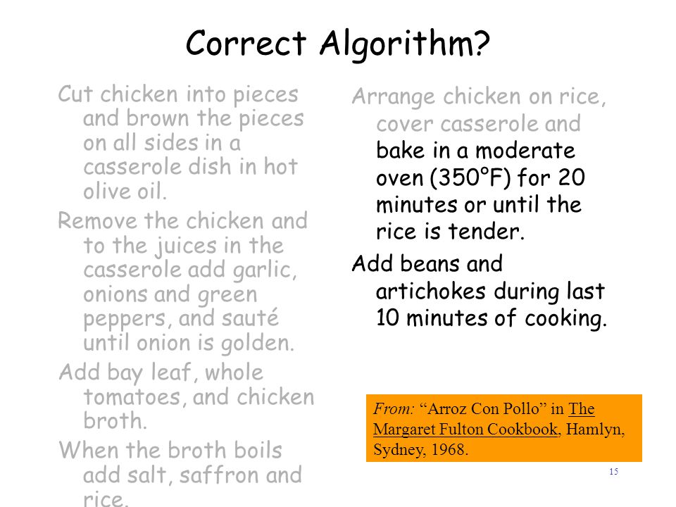 Correct Algorithm Cut chicken into pieces and brown the pieces on all sides in a casserole dish in hot olive oil.