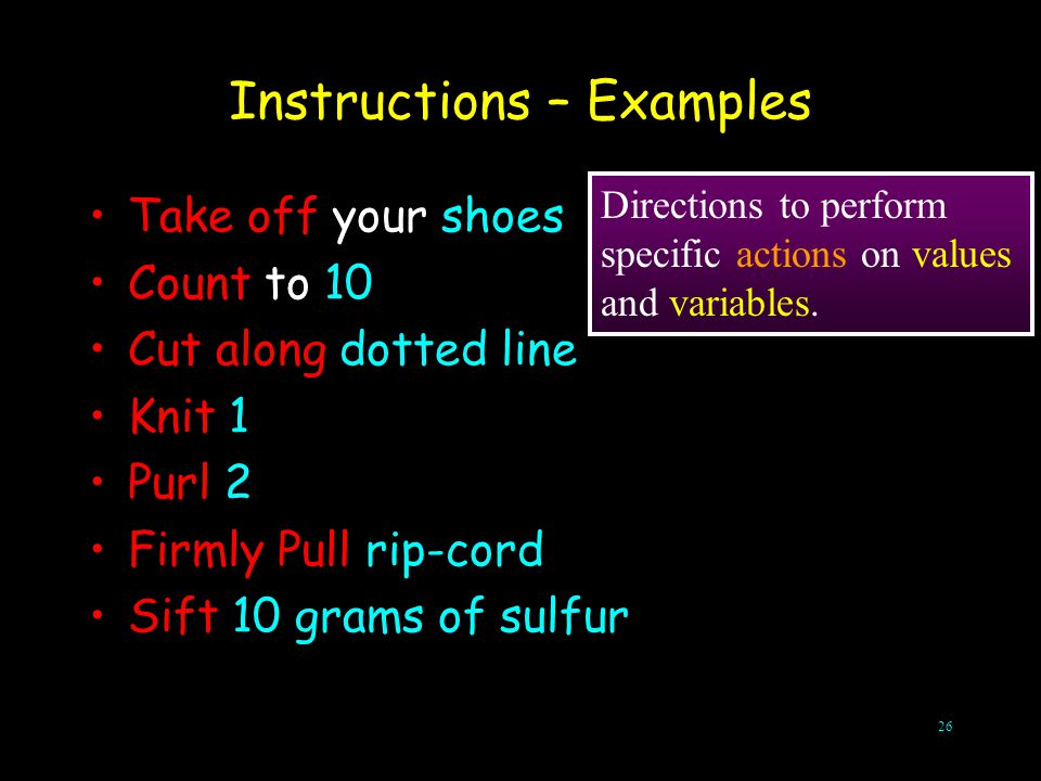 Instructions – Examples